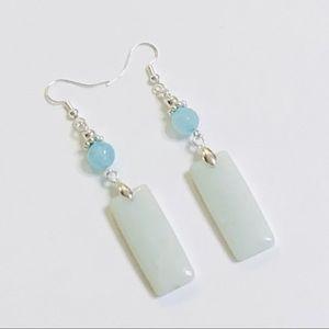 Aqua White Amazonite Oblong Jadeite Earrings